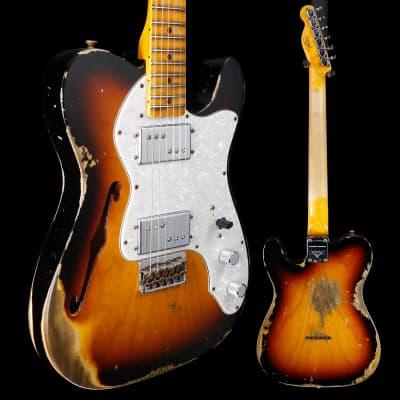 Fender Custom Shop '72 Telecaster Thinline Heavy Relic, Maple Fb, Faded Aged 3 Color Sunburst 231 6l for sale