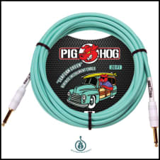 Lifetime Warranty! Pig Hog PCH20G Seafoam Green 20ft Guitar/Instrument/Bass Patch Cable 1/4 Cord
