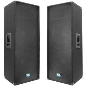 """Seismic Audio SA-155TPAIR Passive 2x15"""" Titanium Horn 700w Speakers (Pair)"""