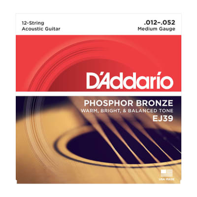D'Addario EJ39 12-String Acoustic Guitar Phosphor Bronze Strings Medium 12-52