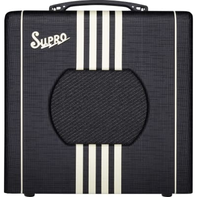 Supro Delta King 8 1 x 8-inch 1-watt Tube Guitar Combo Amplifier-Black & Cream 1818-bc