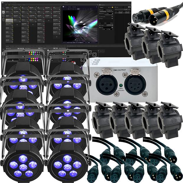 Chauvet SlimPAR H6 USB X 8 + ADJ MYDMX 3 0 DMX Controller + Cables Bundle