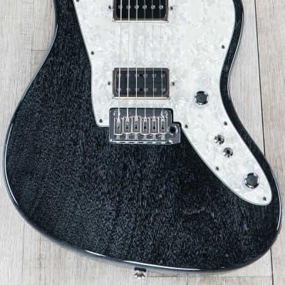 Tom Anderson Guitarworks Raven Superbird Guitar, Black w/White Dog Hair for sale