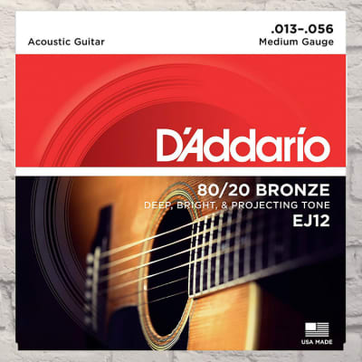 D'Addario EJ12 Medium 80/20 Bronze Acoustic Strings 13-56