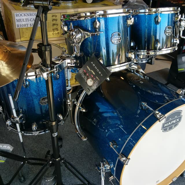 "Mapex Armory Drum Set Studioease Shell Pack 22"" Photon Blue AR628SBI 6 Piece Including Snare Drum image"