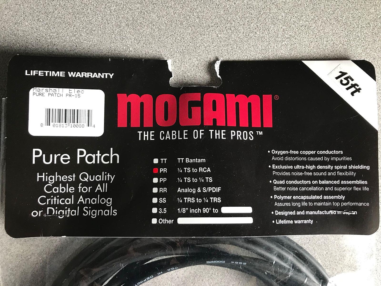 Mogami Pure Patch PR-15 DJ 15 Foot 1/4