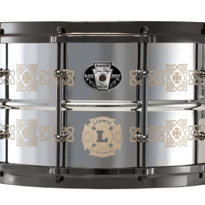 """Ludwig LW0814JR Jim Riley Signature Black Magic 8x14"""" Stainless Steel Snare"""