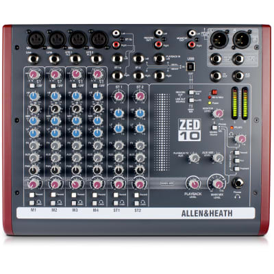 Allen & Heath ZED-10 10-channel Mixer with USB Audio Interface (B-Stock)