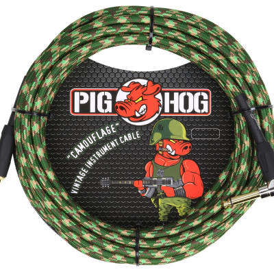 "Pig Hog Instrument Cable ""Camouflage"" 1/4' to 1/4' 20 ft.Right Angle, PCH20CFR"