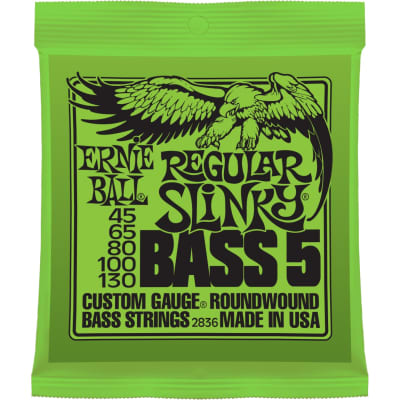 Ernie Ball 5-String Nickel Wound Regular Slinky Bass Strings 45-130