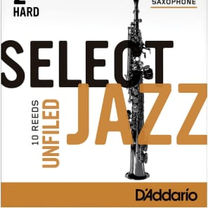 Rico RRS10SSX2H Select Jazz Soprano Saxophone Reeds, Unfiled - Strength 2 Hard (10-Pack)
