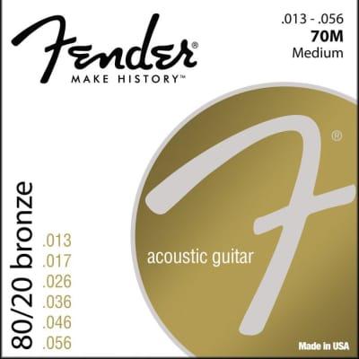 Fender 70M Acoustic Guitar Strings 80/20 Bronze Medium Ball End 13-56 .013-.056 - 0730070408 for sale