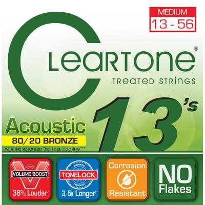 Cleartone 7613 Acoustic Guitar Strings 80/20 Bronze Medium Coated Set 13-56