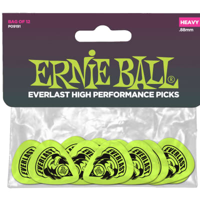 Ernie Ball P09191 Everlast Heavy Guitar Picks - Bag of 12, Green for sale