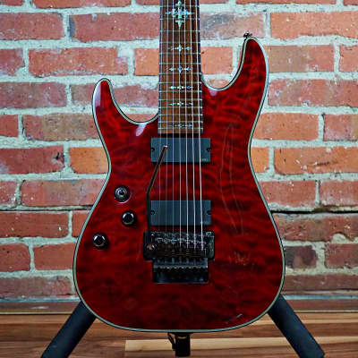 Schecter Damien Elite Left Handed 7-String Floyd Rose 2010's Black Cherry Quilted Maple for sale