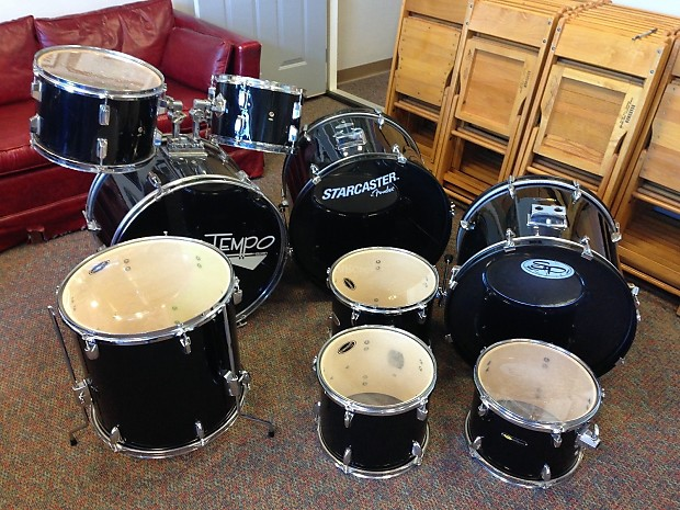 Lot Of 9 Drum Set Drums Starcaster By Fender Sound Reverb