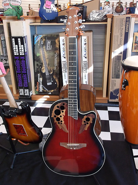 Ovation Applause Shallow Bowl Acoustic Electric Guitar Ruby | Reverb