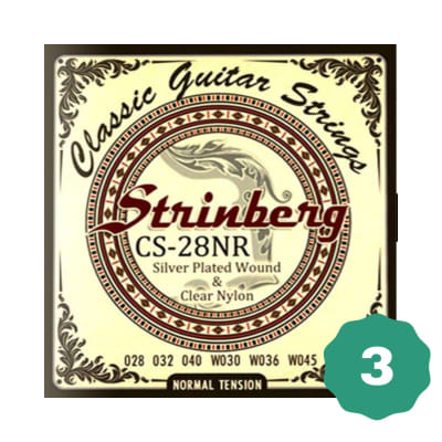 New Strinberg CS-28NR Silver Plated Wound Clear Nylon 6-String Classical Guitar Strings (3-PACK)