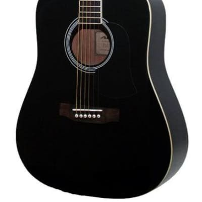 Aria AW-15 Dreadnought Acoustic Guitar in Metallic Black for sale