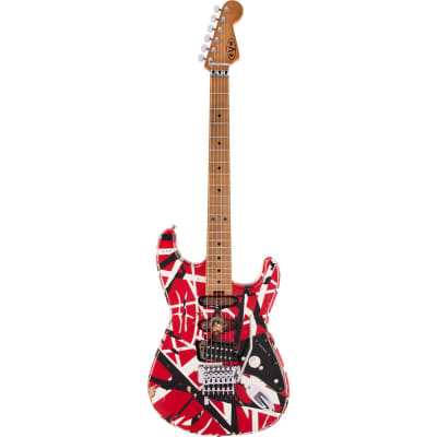 EVH Striped Series Frankie Electric Guitar, Red/White/Black Relic for sale