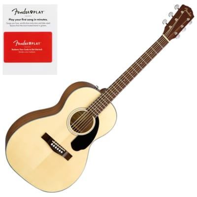 Fender 0970120021 CP-60S Parlor Acoustic Guitar, Walnut Fingerboard, Natural w/ Fender Play Prepaid Card