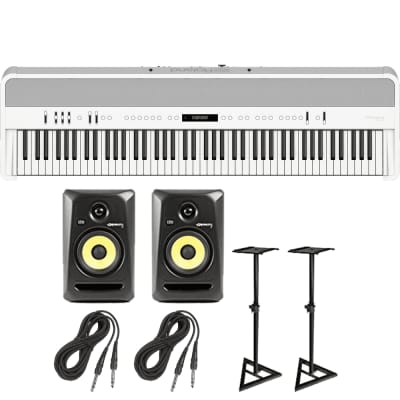 Roland FP-90 Digital Piano (White) + KRK Rokit 5 G3 Active Studio Monitors with Monitor Stands and Cables