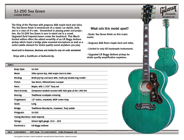2016 Gibson Sj 200 Sea Green Limited Edition Acoustic Reverb