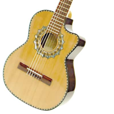 Paracho Elite ZAPATA Requinto Tejano Mariachi Abalaone Inlay 6-String Guitar for sale