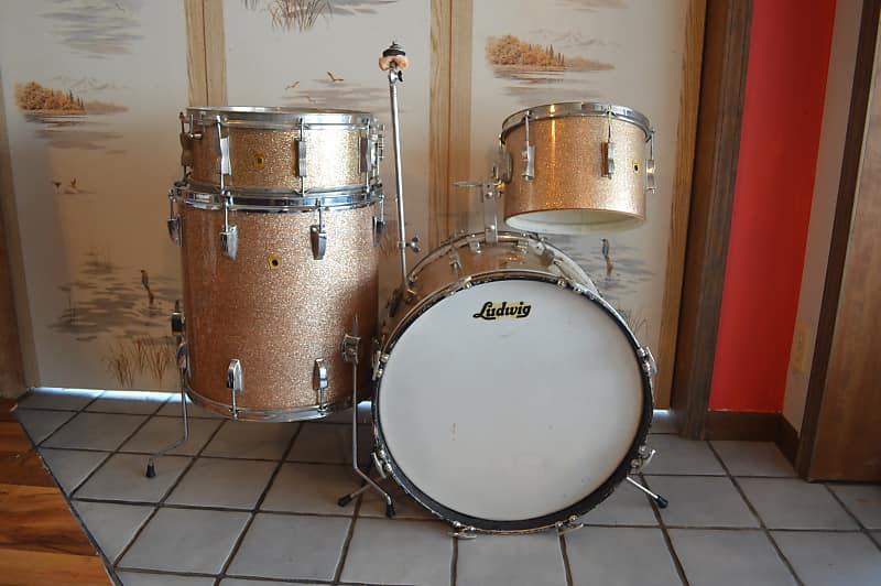Drums For Sale >> July Fire Sale Ludwig 1960 S Vintage Champagne Sparkle Reverb