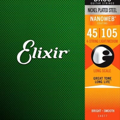 Elixir 14202 Light Long Scale 5-String Electric Bass Strings with NANOWEB Coating