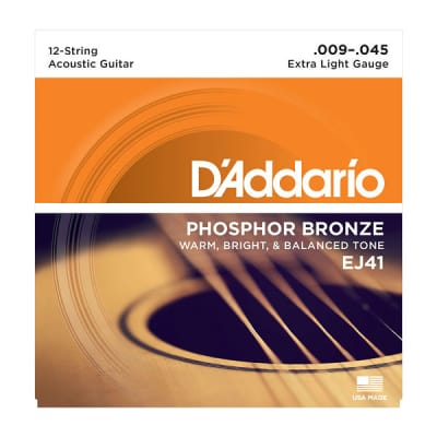 D'Addario EJ41 12-String Phosphor Bronze Extra Light Acoustic Strings 9-45