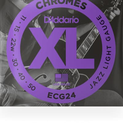 D'Addario ECG24 Chromes Flatwound Electric Strings -.011-.050 Jazz Light