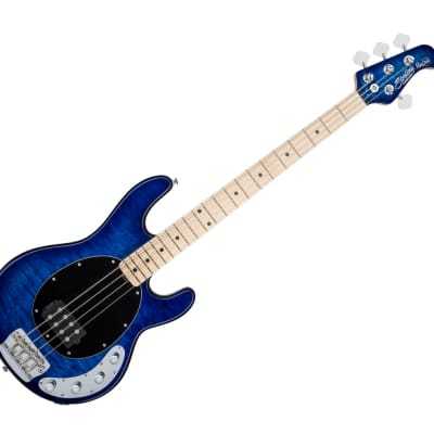 Sterling by Music Man RAY34QM-NBL-M1 StingRay in Quilted Maple Neptune Blue C-Stock for sale