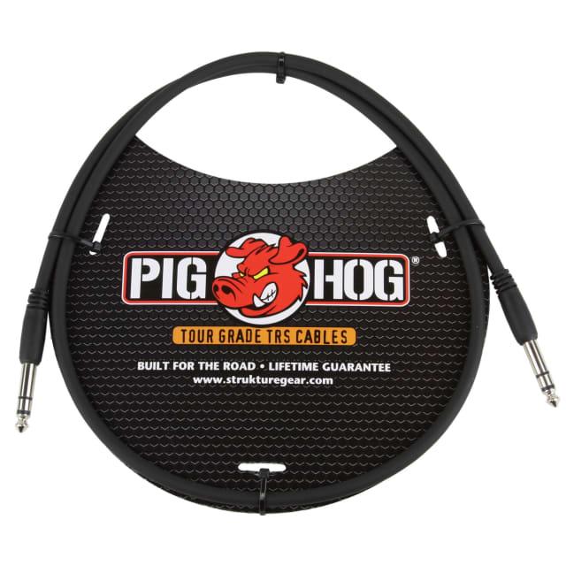 """Pig Hog Tour Grade 3-foot, 8mm, balanced 1/4"""" TRS - 1/4"""" TRS Cable, Black image"""