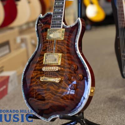 Minarik Super Custom Lotus Guitar Tiger's Eye Burst for sale