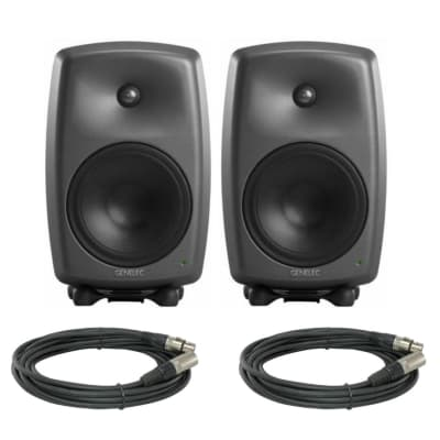 "Genelec 8350A SAM Series 8"" 2-Way 350W Active Studio Monitor Speaker (Pair) - Dark Gray Producer"