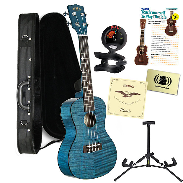 kala ka cembk3 concert blue satin ukulele bundle with case. Black Bedroom Furniture Sets. Home Design Ideas
