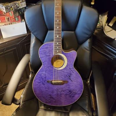 (Dream Theater Autographed)Luna Fauna Eclipse Acoustic-Electric Guitar Transparent Purple for sale