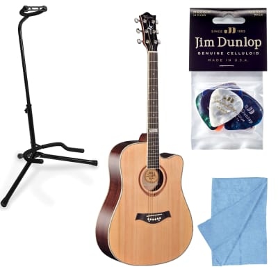 Tagima Guitars America Kansas Acoustic Guitar, Natural w/ Stand, Cloth, Picks for sale