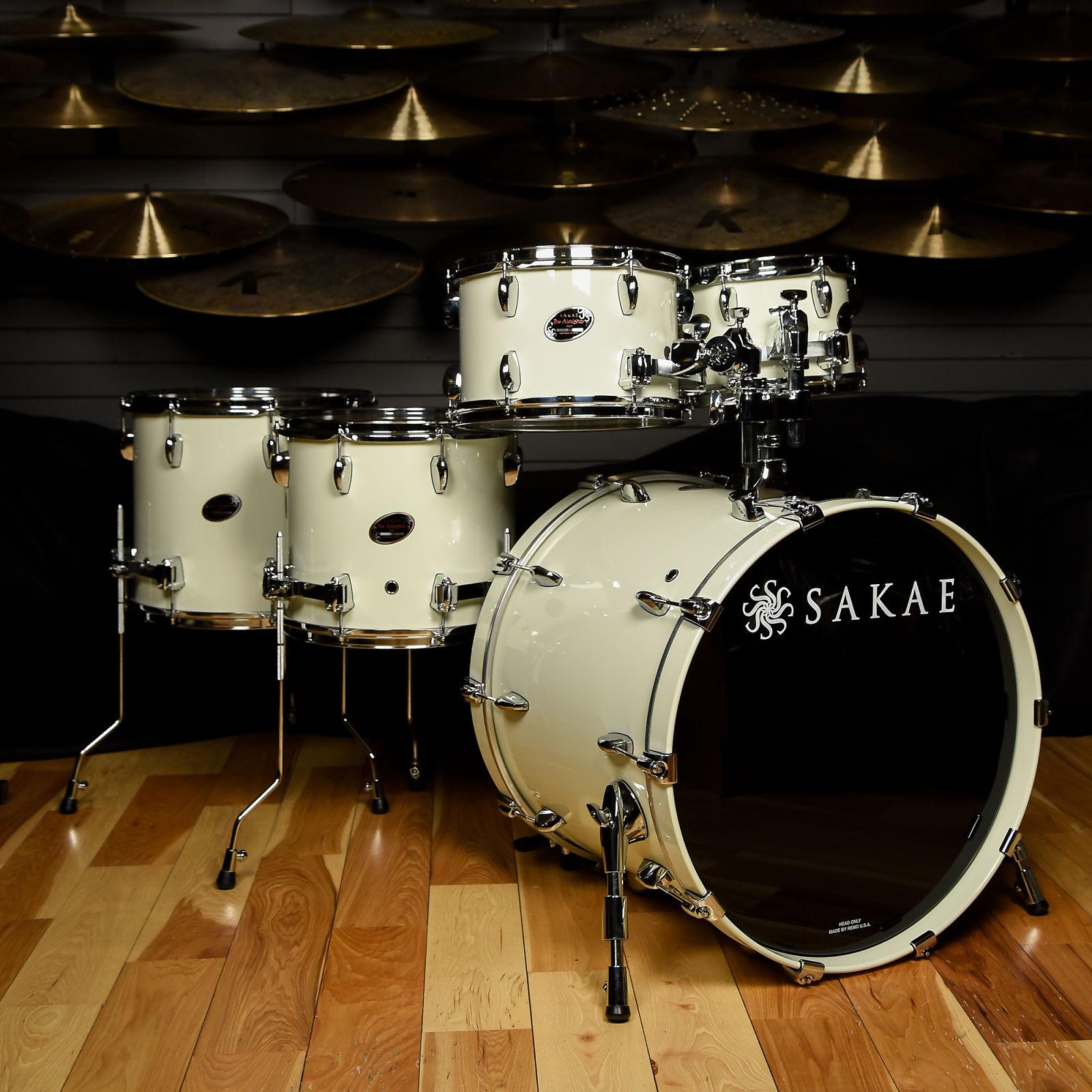 Sakae Almighty Birch 5pc Drum Kit 10 12 14 16 22 Vintage White