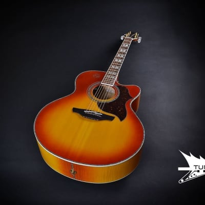 Takamine EG523CDX-HB Deluxe Acoustic/Electric Jumbo - Honey Burst (876) for sale