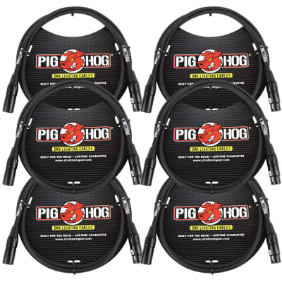 Lifetime Warranty! 6 PACK Pig Hog PHDMX5 5ft DMX Lighting Cable 3 Pin - NEW