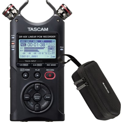 Tascam DR-40X Four Track Digital Audio Recorder and USB Audio Interface DR40X w/ Case
