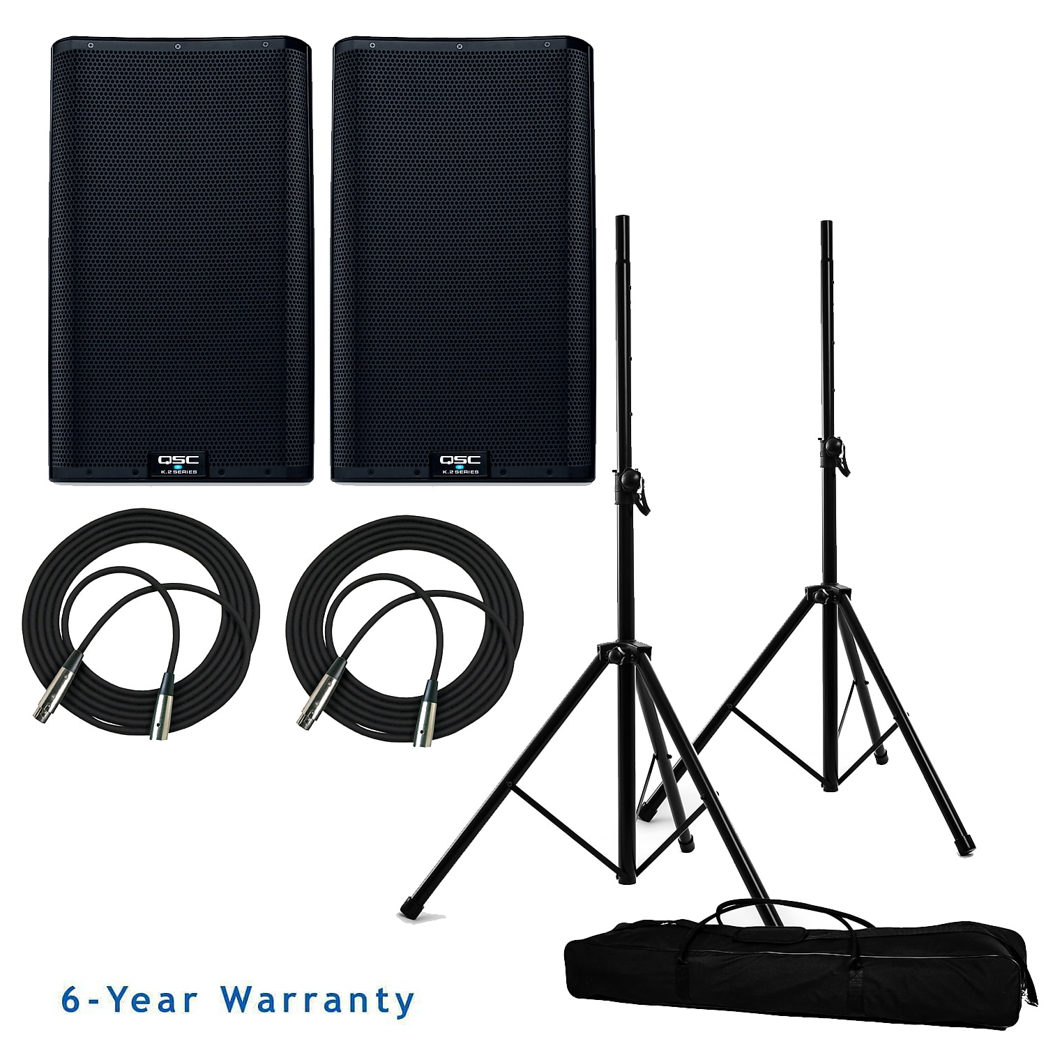 "QSC K10.2 2000W 10"" Powered Speaker Bundle w/ Stands, Bag + Cables"