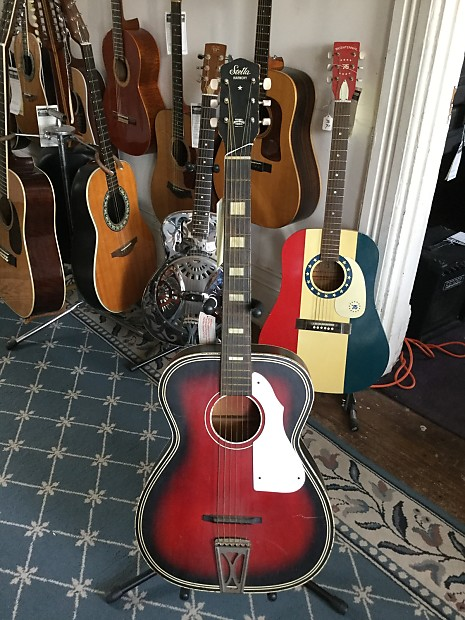 stella harmony acoustic guitar 1960 39 s redburst reverb. Black Bedroom Furniture Sets. Home Design Ideas