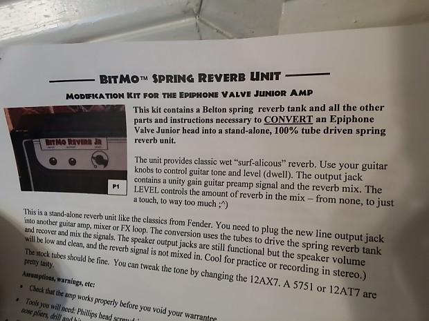 mod kit 4 Epiphone Valve Jr BITMO SPRING REVERB UNIT