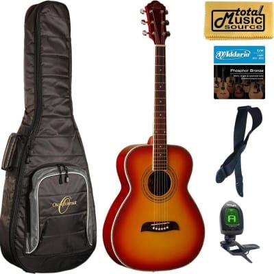 Oscar Schmidt OF2 Folk-Size Acoustic Guitar - Cherry Sunburst Bag Bundle, OF20CS BAGPACK for sale