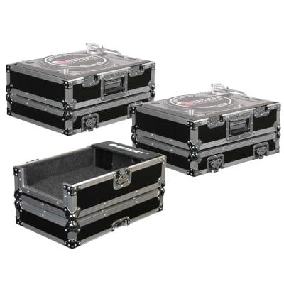 """(2) Odyssey FR1200E -Fits 1200 Style DJ Turntables- & FR10MIXE 10"""" DJ Mixer Case"""