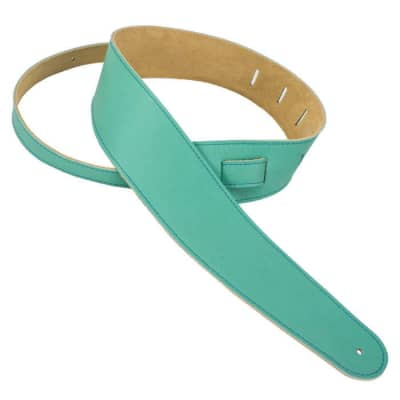 """Henry Heller 2"""" Capri Garment Leather Guitar Strap, Seafoam Green with Buttery Capri Suede Backing"""