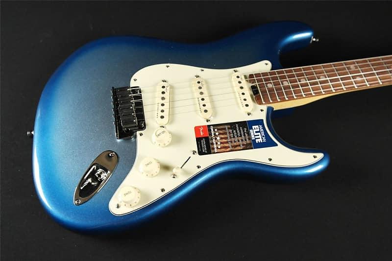 Hasil gambar untuk Fender American Elite Stratocaster Electric Guitar, rosewood , Sky Burst Metallic